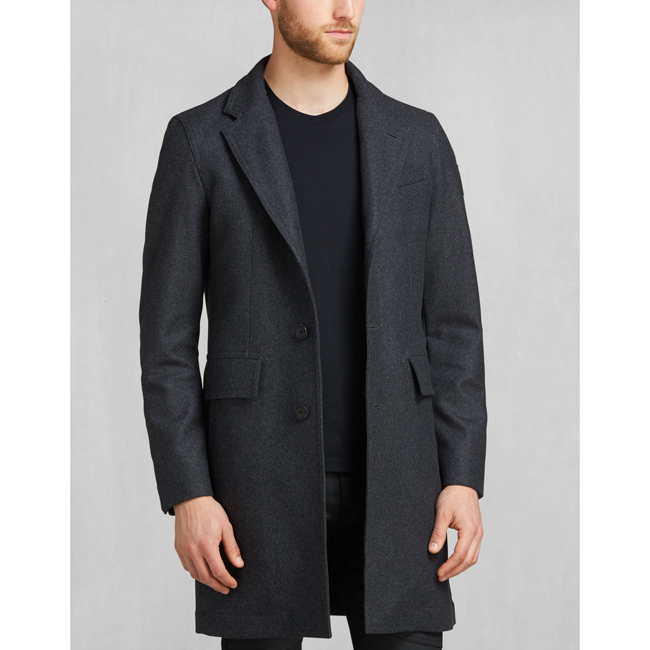 Men Belstaff BRADBOURNE COAT CHARCOAL MELANGE Outlet Online