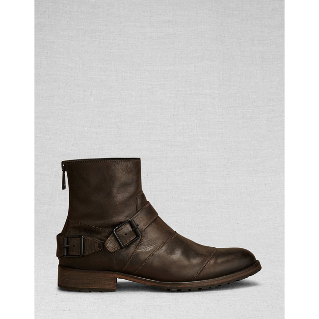 Men Belstaff TRIALMASTER SHORT BOOT  BLACK/BROWN Outlet Online