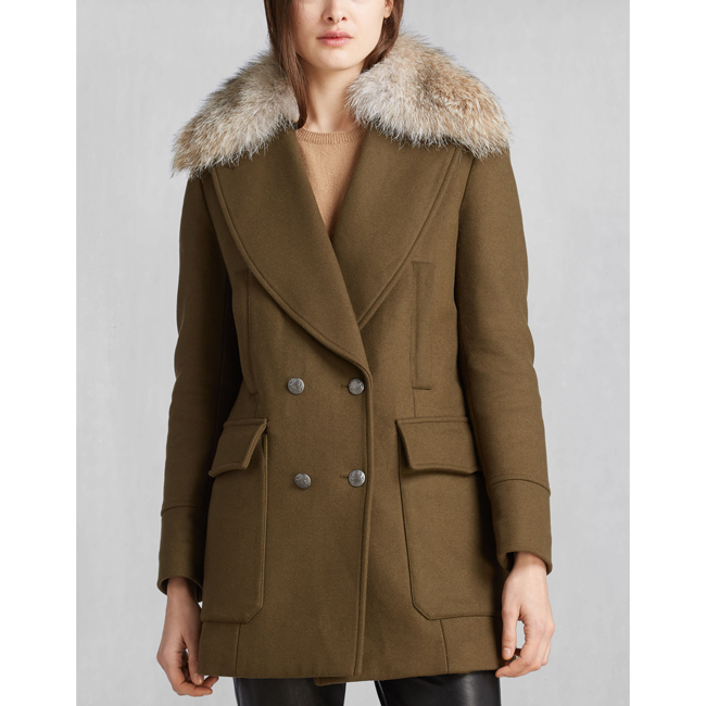 Women Belstaff WHITNEY COAT WITH FUR SPINACH Outlet Online