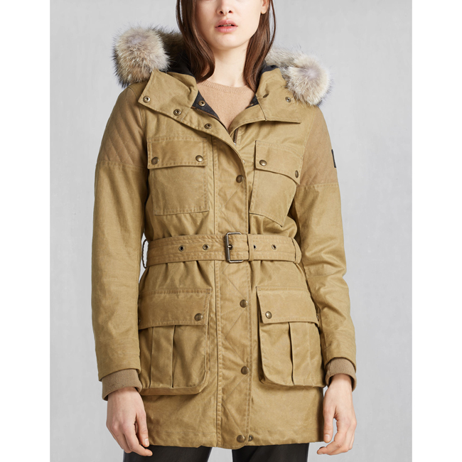 Women Belstaff TRECKMASTER PARKA WITH FUR ANTIQUE BEIGE Outlet Online