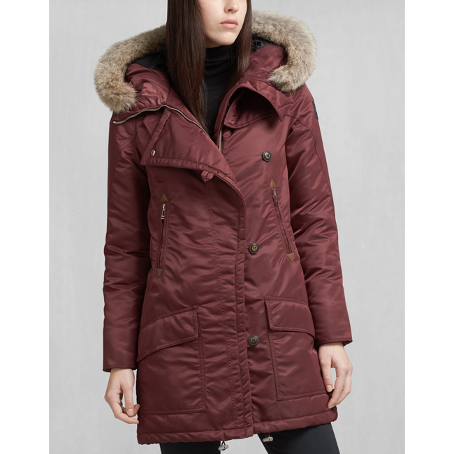Women Belstaff DRAKE DOWN COAT WITH FUR BURGUNDY Outlet Online