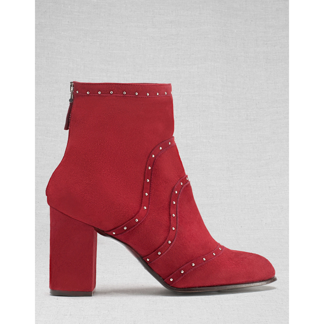 Women Belstaff POINTET STUDDED SHORT BOOTS  BURGUNDY Outlet Online