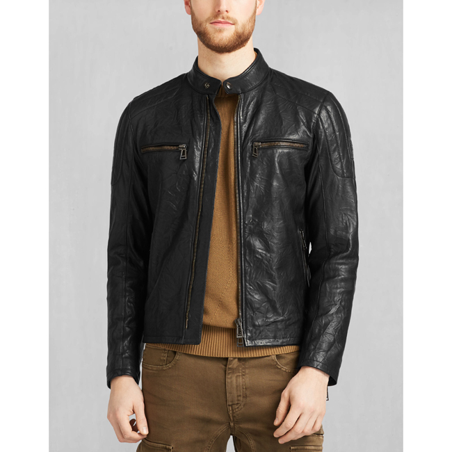 Men Belstaff ARCHER BIKER JACKET BLACK Outlet Online