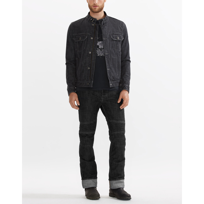 Men Belstaff VELOCETTE DENIM MOTORCYCLE JACKET BLACK Outlet Online