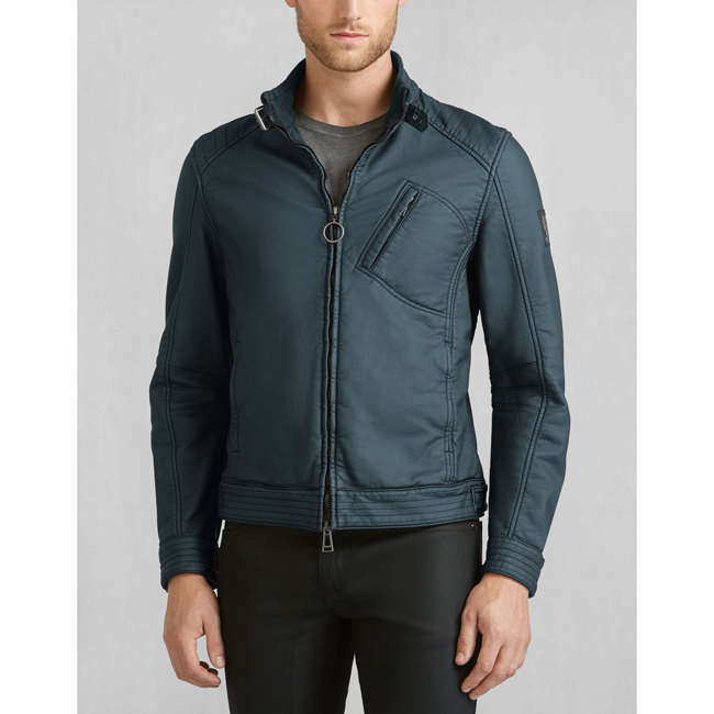 Men Belstaff H RACER JACKET DENIM BLUE Outlet Online