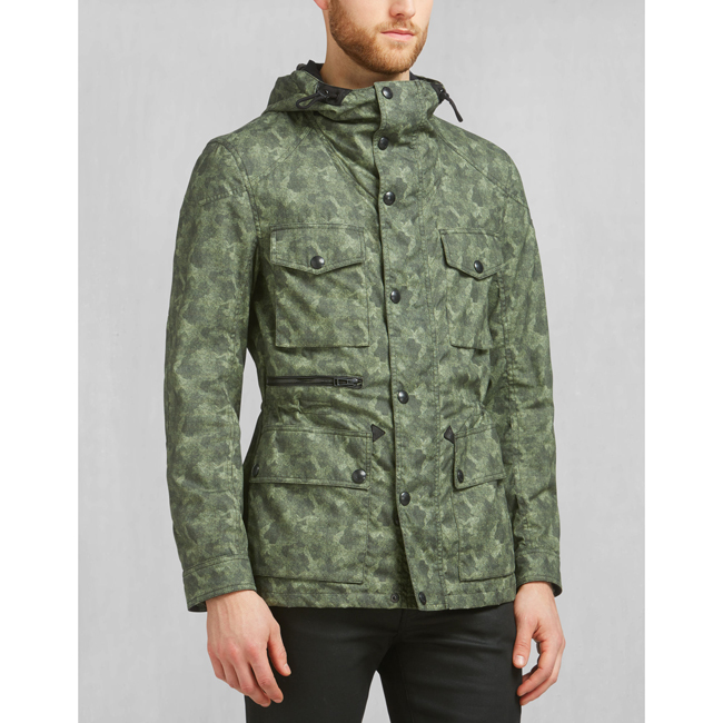 Men Belstaff ABERFORD PRINTED JACKET PALE MILITARY Outlet Online