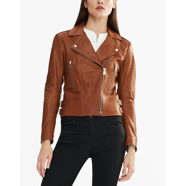 Women Belstaff MARVING-T BIKER JACKET UMBER Outlet Online