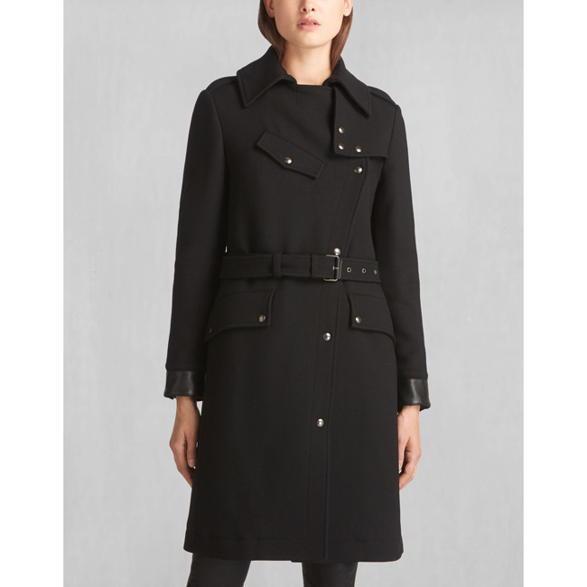 Women Belstaff ALLARD RIDERS LONG COAT BLACK Outlet Online