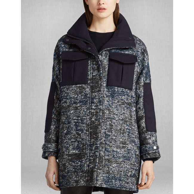 Women Belstaff ODELL COAT BLACK/BLUE Outlet Online