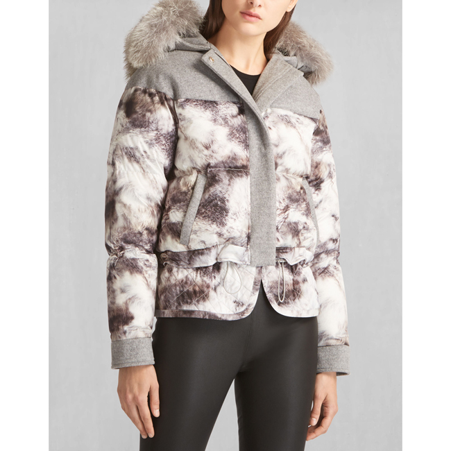 Women Belstaff WILKINS DOWN BLOUSON WITH FUR GREY/GREY Outlet Online