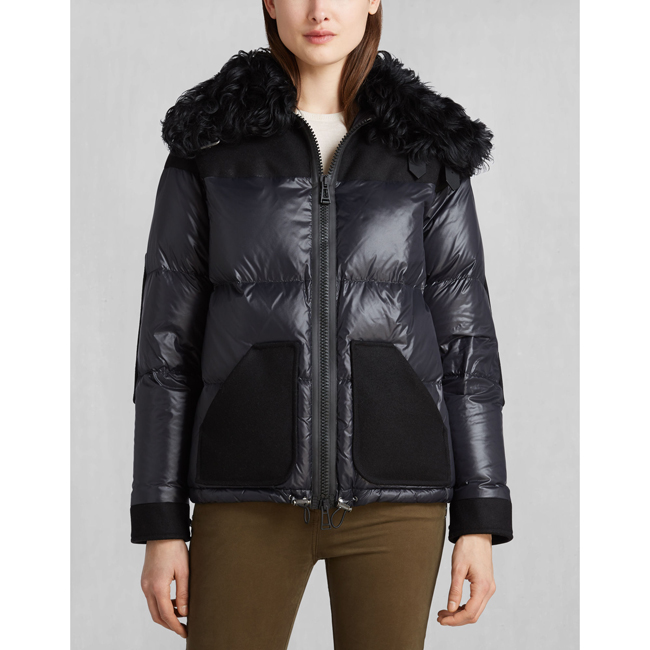 Women Belstaff BARONET DOWN JACKET WITH FUR BLACK Outlet Online