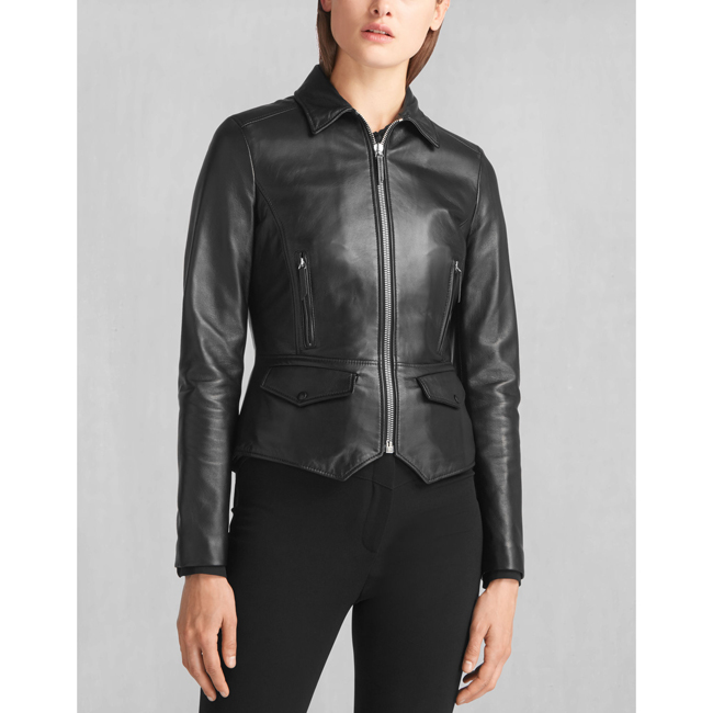 Women Belstaff LIV TYLER ROXIE SHEARLING COLLAR JACKET BLACK Outlet Online